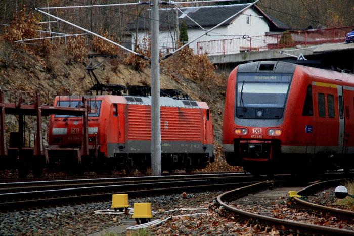 189 004 und 612 im Bahnhof Klingenberg-Colmnitz
