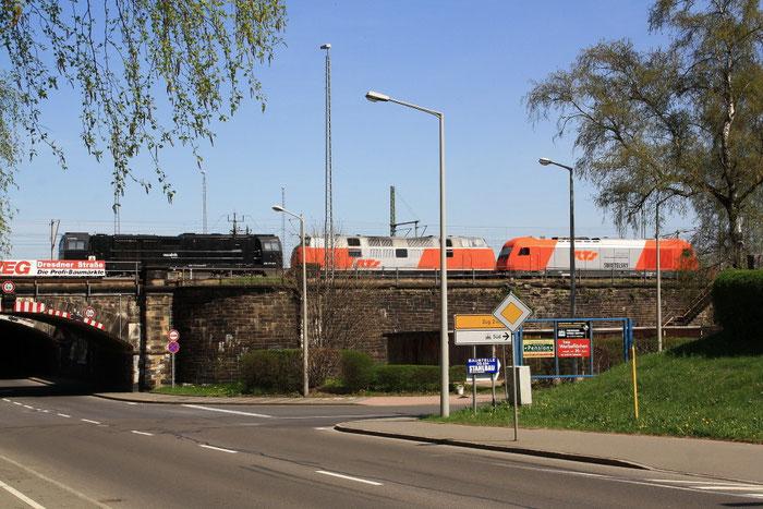 """RTS V200 221 134, RTS """"Herkules"""" 2016 906 und 272 406 in Freiberg"""