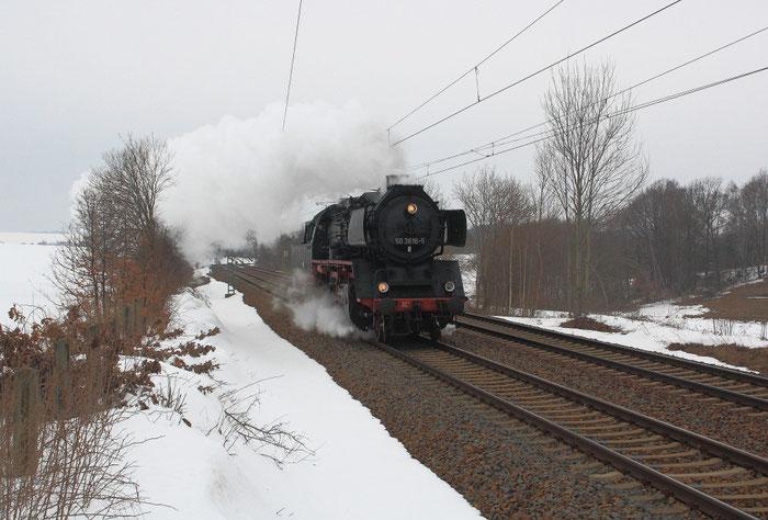 50 3616 auf Überführungsfahrt zum Dresdner Dampfloktreffen
