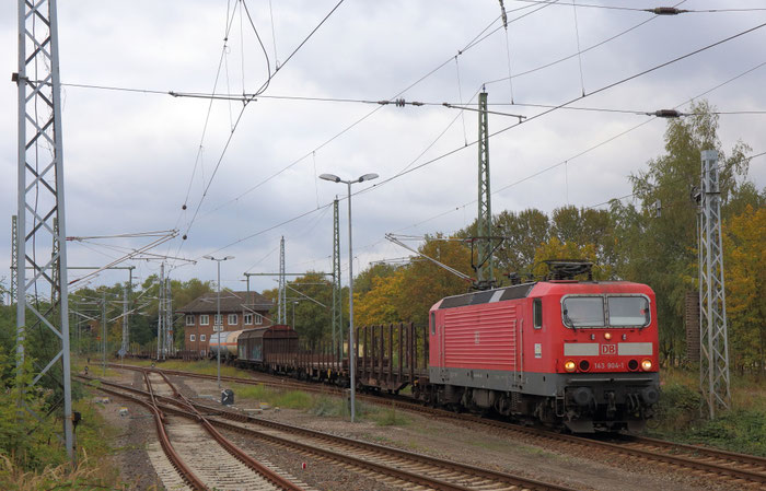 Die BR 143 aktuell auch wieder im Güterzugeinsatz. Hier die Ulmer 143 904 in der Hansestadt Wismar
