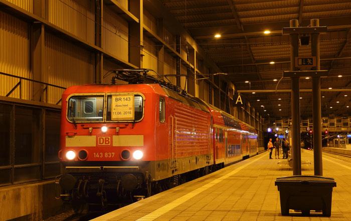Letzte RB 30 nach der Ankunft in Chemnitz aus Zwickau um 0.40 Uhr