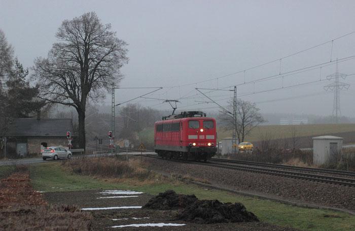 151 045 am 10.12.2013 als Lz von Dresden nach Westsachsen zum Abholen eines Autozuges
