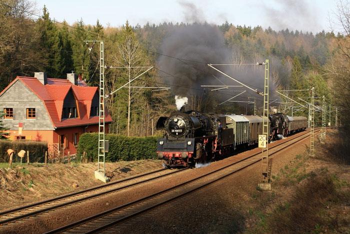 35 1097, 44 2546 und 65 1049 als Überführungfahrt vom Dresdner Dampflokfest bei Dorfhain