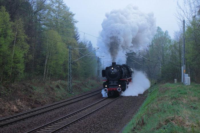 01 150 mit Sonderzug vom Dresdner Dampflokfest zurück nach Stuttgart
