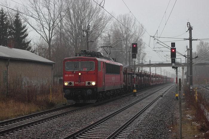 155 191 mit Autoleerzug in Klingenberg-Colmnitz