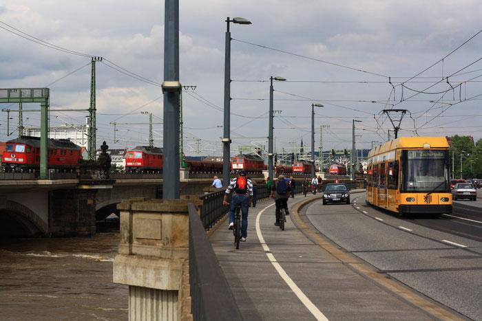 241 697, 241 338, 241 449, 233 288 und 232 469 auf der Marienbrücke in Dresden