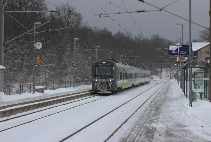 440 608 der Agilis auf Probefahrt im Bahnhof Klingenberg-Colmnitz