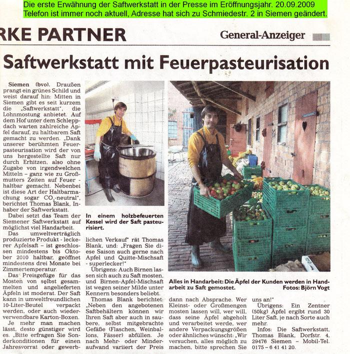 Die erste Erwähnung der Saftwerkstatt in der Presse im Eröffnungsjahr. 20.09.2009