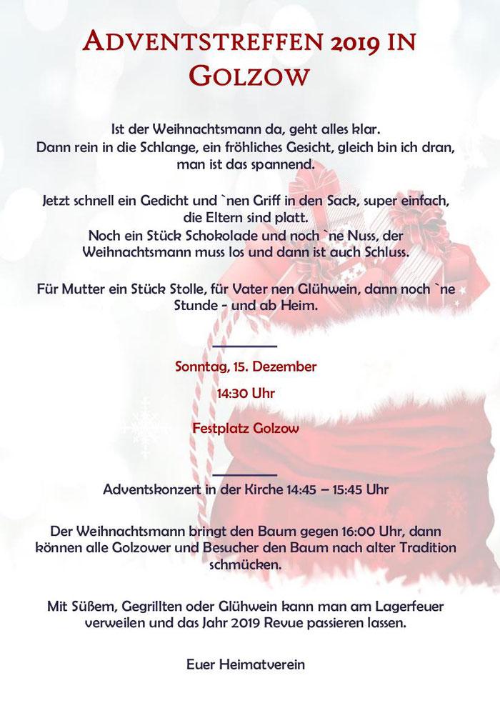 Termin 15. Dezember 2019 in Golzow 16230 Brandenburg Barnim