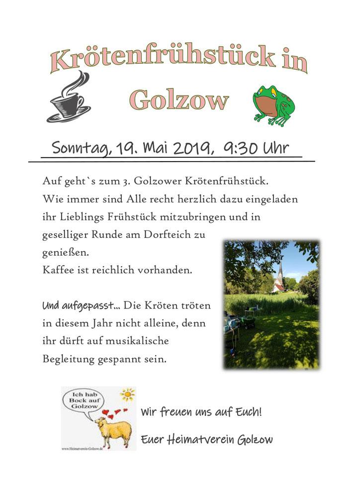 Krötenfest Frühsück am Dorfteich 2019 in Golzow 16230 Brandenburg Barnim