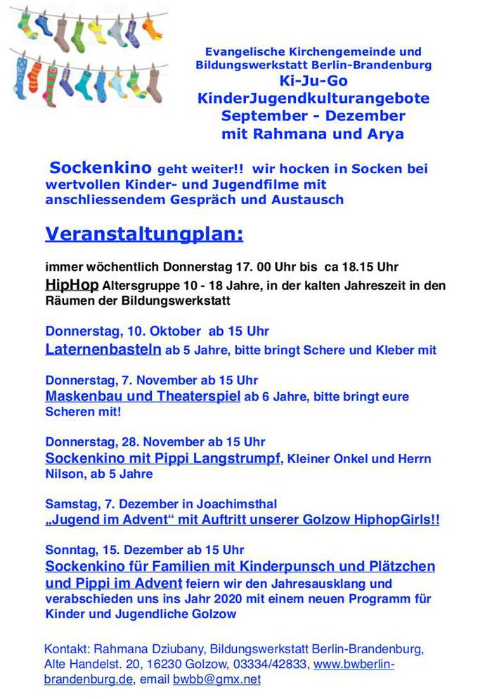 Neue Termine der der Evangelischen Kirchengemeinde und Bildungswerkstatt Berlin-Brandenburg Ki-Ju-Go 2019