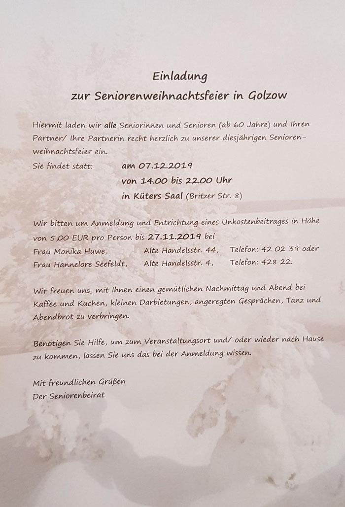 Einladung Seniorenweihnachstfeier Golzow