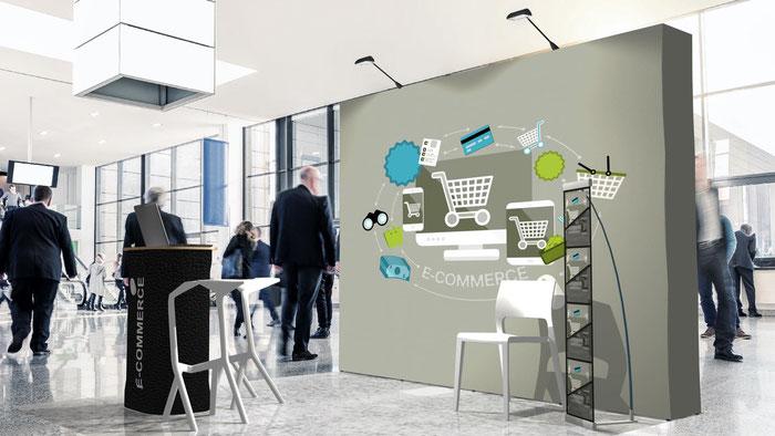 Messestand-Set gebogene Faltwand mit Stoffgrafik Messetheke mit Stoffgrafik