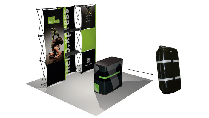 HELLO.XPRESS Messestand, Messeset, Faltwand, Popup Wand, Textilwand, Counter, Messetheke
