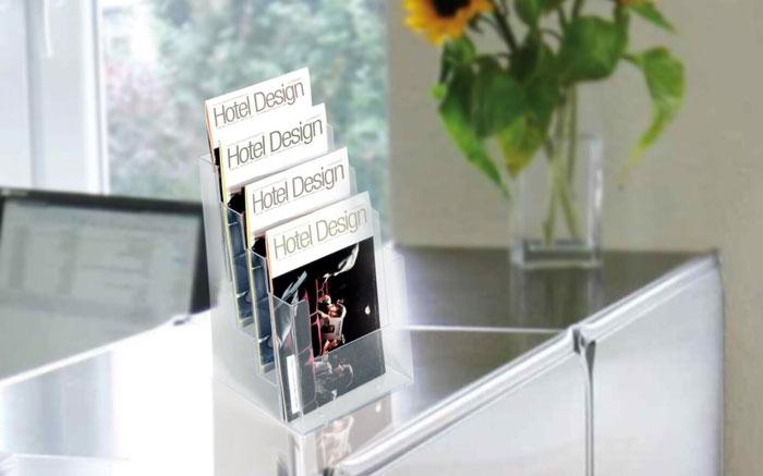Transparenter Mehrfach-Tisch-Prsopektständer