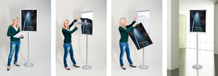 Plakatwechsel Aluminium-Posterständer mit Klapprahmen