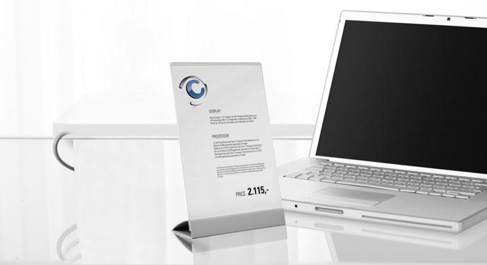 Tisch-Infoständer mit Edelstahl-Fuß und Acryl-Prospekthalter