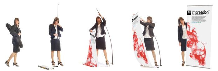 Aufbau Bannerständer Impression mit Fiberglasstange