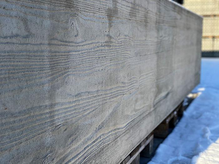 Hochbeet aus Beton mit Holzstruktur Grau