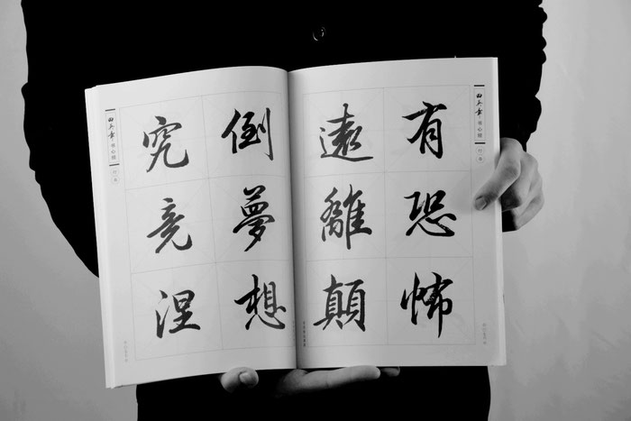 Ausschnitt in Halbkursivschrift aus einem Lehrbuch des Kalligraphen Tian Yingzhang 田英章. Foto © Marie Schröder 2021