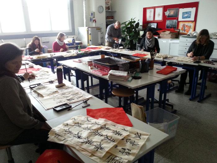 Kalligraphie-Seminar, geleitet von Kolja Quakernack. Foto © Kolja Quakernack