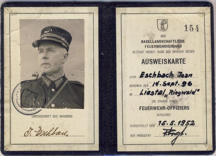 Ausweis von Jean Eschbach, letzter Kommandant der Floretti-Feuerwehr. Bild: Urs Brutschin