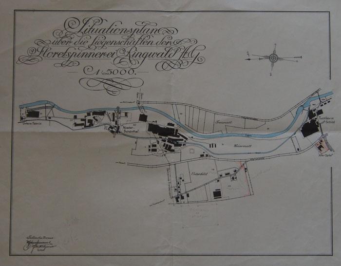 Plan mit dem parallel zur Ergolz laufenden Kanal und den Fabriken. Bild: Staatsarchiv Basel-Landschaft PA 6124