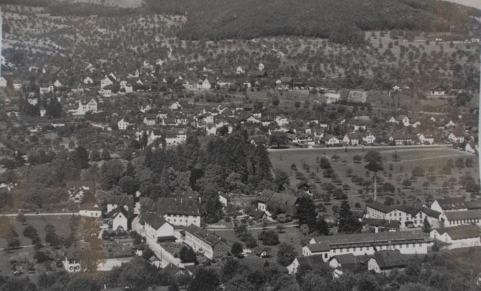 Blick ins Herz von Niederschönthal mit langem Haus, Mühle, Hof und den Gebäuden der mittleren Fabrik. Bild: Staatsarchiv Basel-Landschaft PA 6124.14.01.IV