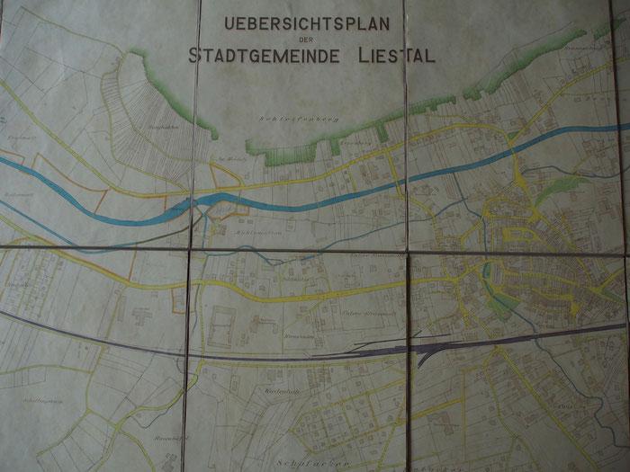 Stadtplan von Liestal aus dem Jahr 1928. Deutlich sieht man, wie die Kanäle verliefen. Beim Kessel zweigte der Kanal in Richtung Schönthal ab. Bild: Staatsarchiv Basel-Landschaft PA 6124.05.10.03