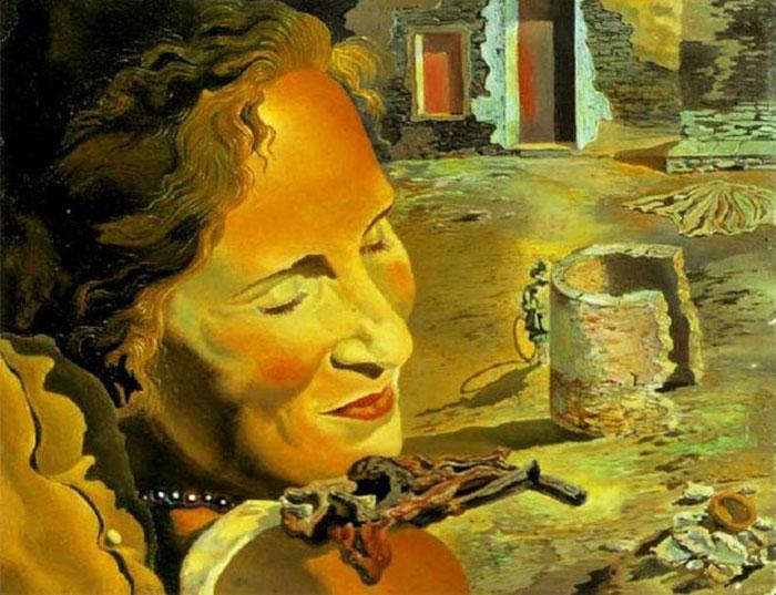"""""""Портрет Галы с двумя ребрышками ягненка, удерживающими равновесие на ее плече"""" (1933)"""