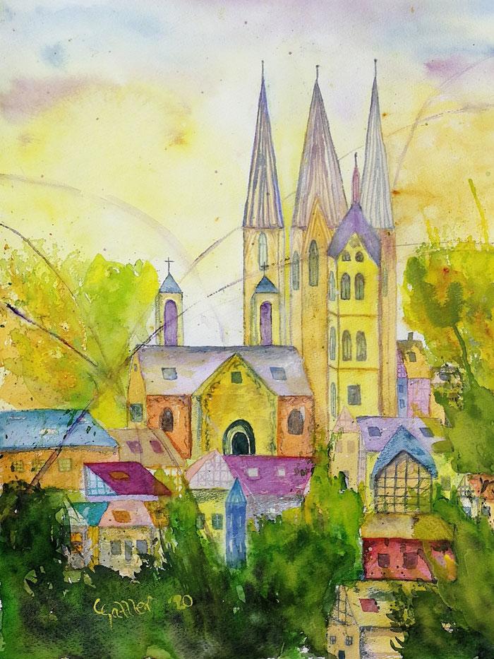 Winter, Stille auf der Reichenau, Licht, Bild, Aquarell, Papier, Natur, Wald, Bäume, Farben, weiß, braun, orange