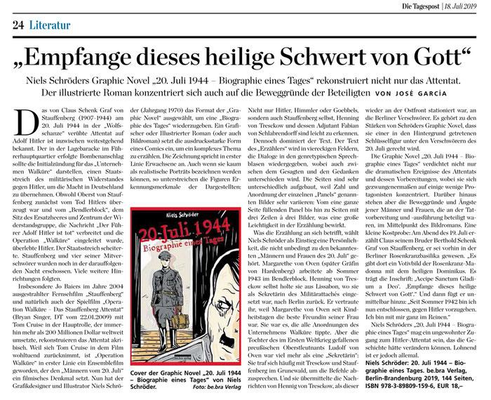 """José Garcia schreibt für die Tagespost eine Rezension zur neuen Graphic-Novel """"20.Juli-1944.Biographie-eines-Tages"""" von Niels-Schröder."""