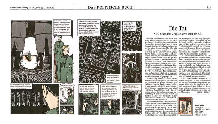 """Stauffenberg. Attentat vom 20. Juli 1944. In der Süddeutschen Zeitung schrieb der Redakteur für Politik, Herr Robert Probst eine sehr positive Rezension über die Graphic-Novel """"20.Juli1944"""" von Niels-Schröder. © SZ 2019."""