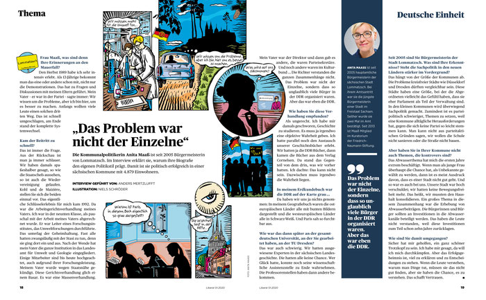 Für Liberal - das Magazin für die Freiheit zeichnet Niels-Schröder eine doppelseitige Comic-Geschichte über die Lebenserfahrungen einer sächsischen Bürgermeisterin.