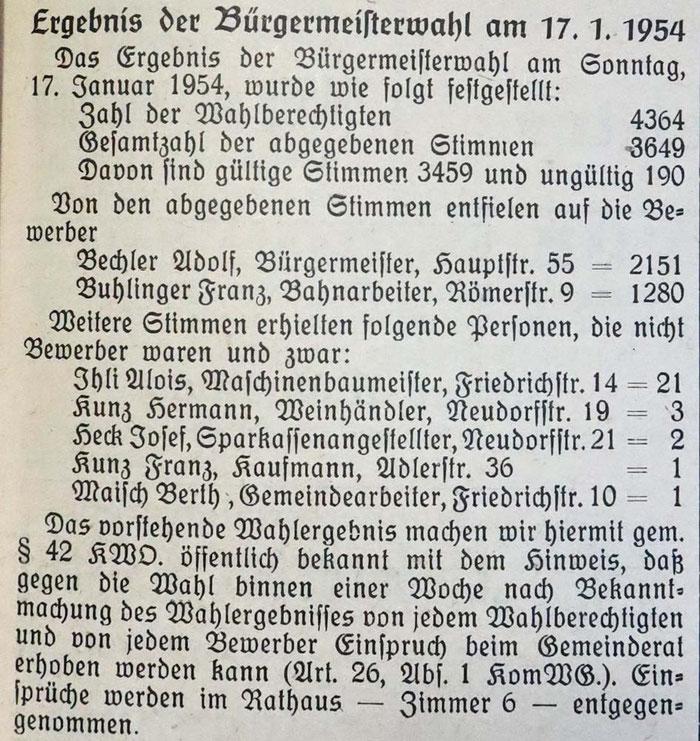 17.1.1954 Bürgermeisterwahlen