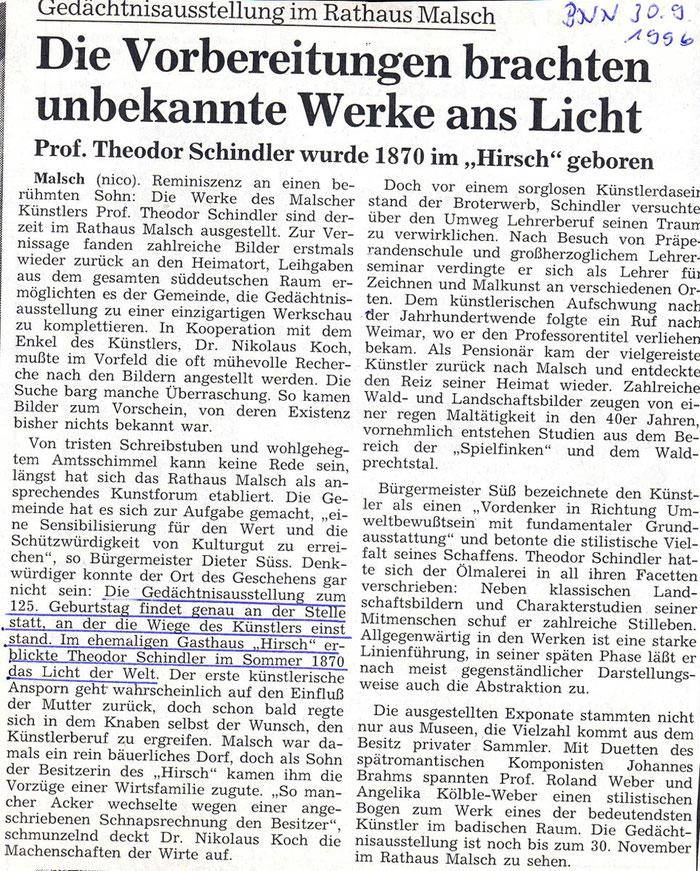 Gedächtnisausstellung im Rathaus, BNN Artikel vom 30.09.1996
