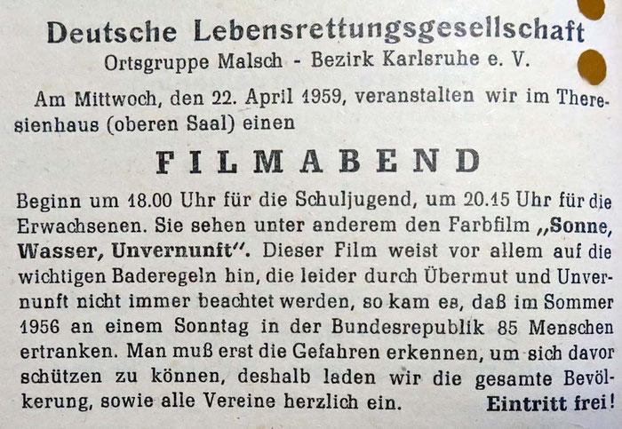 Gemeindeanzeiger 22. April 1959