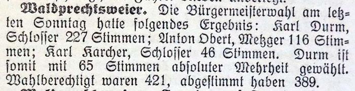 12.6.1929 Bürgermeisterwahlen Waldprechtsweier