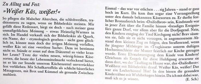 Kindtaufstollen, Bibbeleskäs, aus Buch W. Wildemann leben S 106