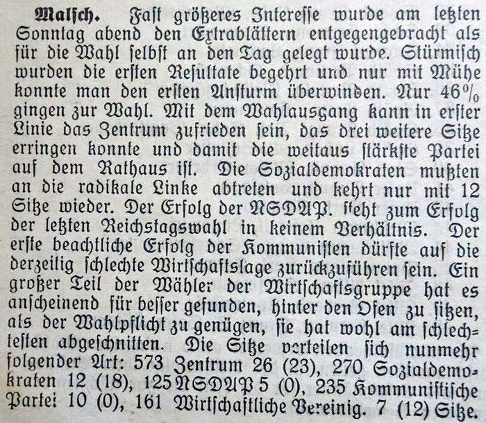 16.11.1930 Kommunalwahlen