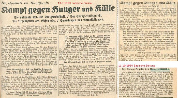 Badische Presse 13.9.1933 + Badische Zeitung 11.10.1934