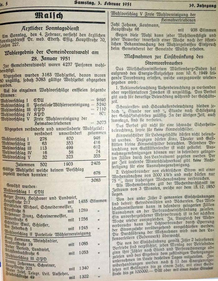 28.1.1951 Gemeinderatswahlen