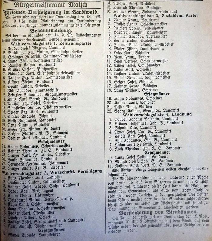 14.11.1926 Gemeinderatswahl