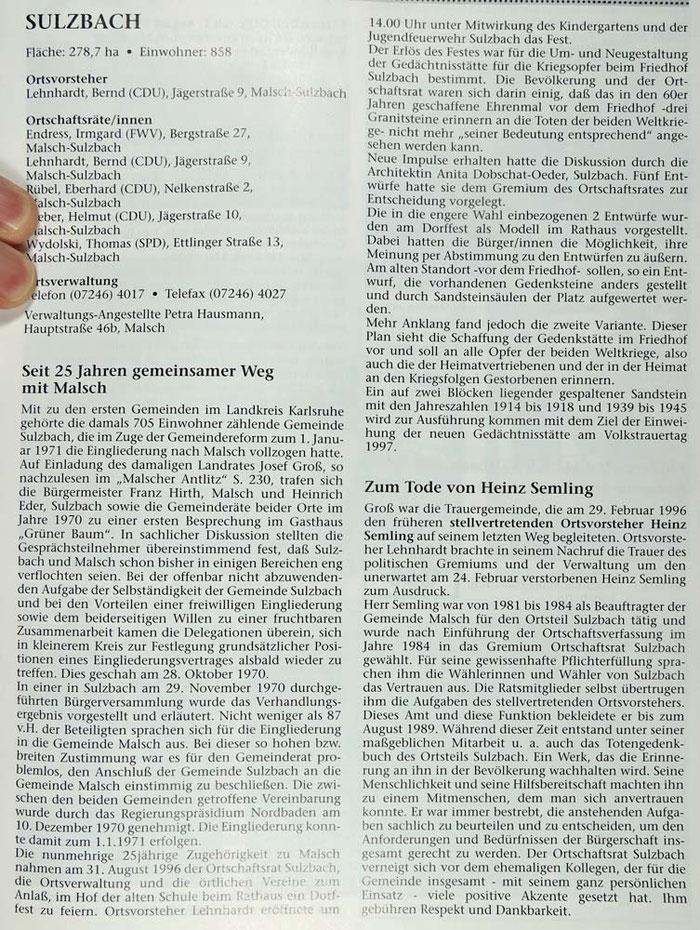 Artikel im Jahresbericht 25 Jahre Eingemeindung Sulzbach. Mit Klick vergrößern.