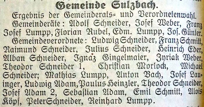 20.11.1926 Gemeinderatswahl Sulzbach