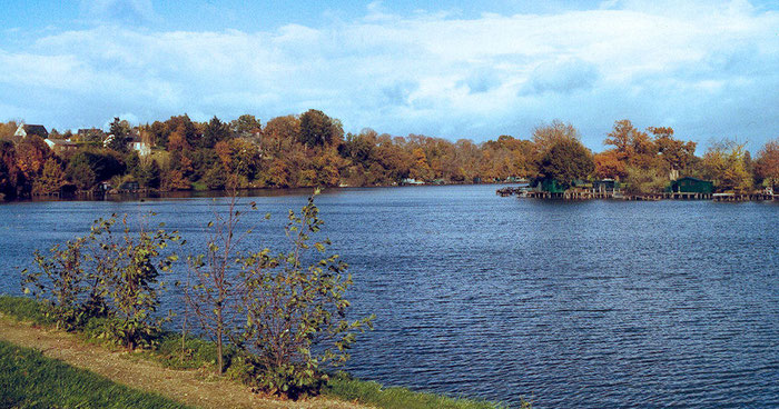 L'étang de Carcraon avec ses cabanes de pêcheurs
