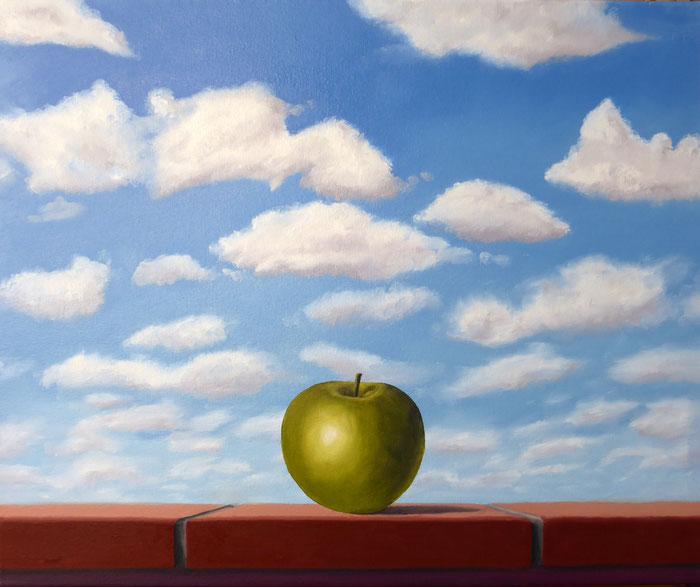 Volker Rohlfing, Hommage à Magritte, 2021, Öl auf Leinwand, 50x60 cm