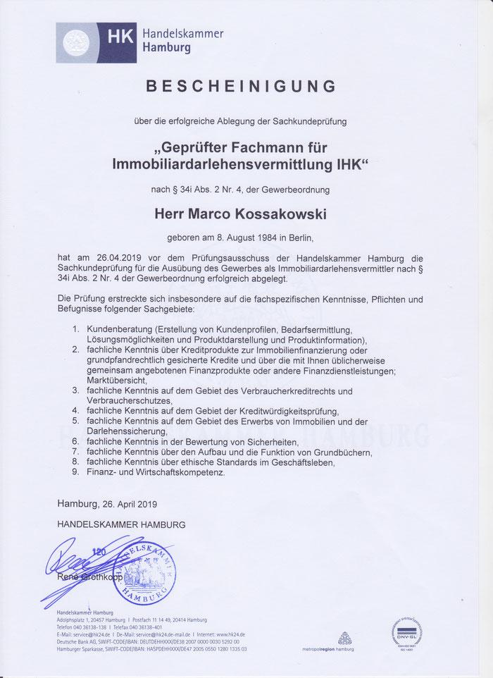 Das Zertifikat der bestandenen Sachkundeprüfung. Die Prüfung war in mehrere theoretische und einen praktischen Teil gegliedert.