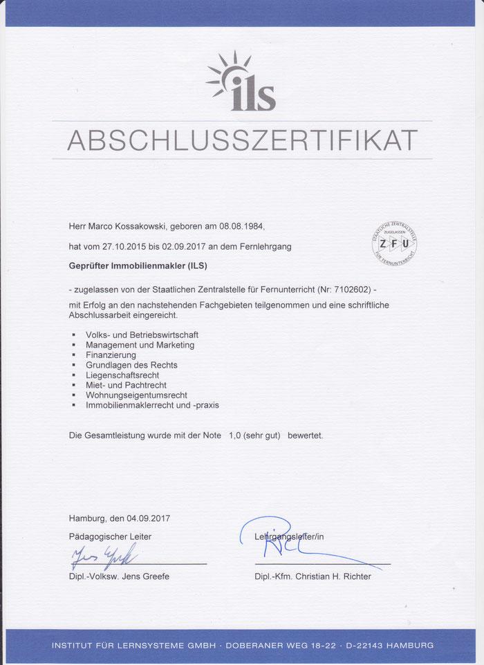 Das Prüfungszertifikat nach einer sehr umfangreichen Abschlussprüfung.