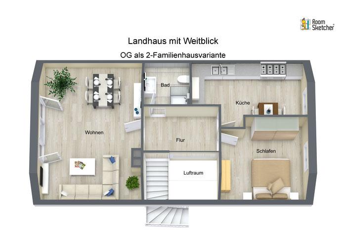 OG als 2-Familienhausvariante in 3D